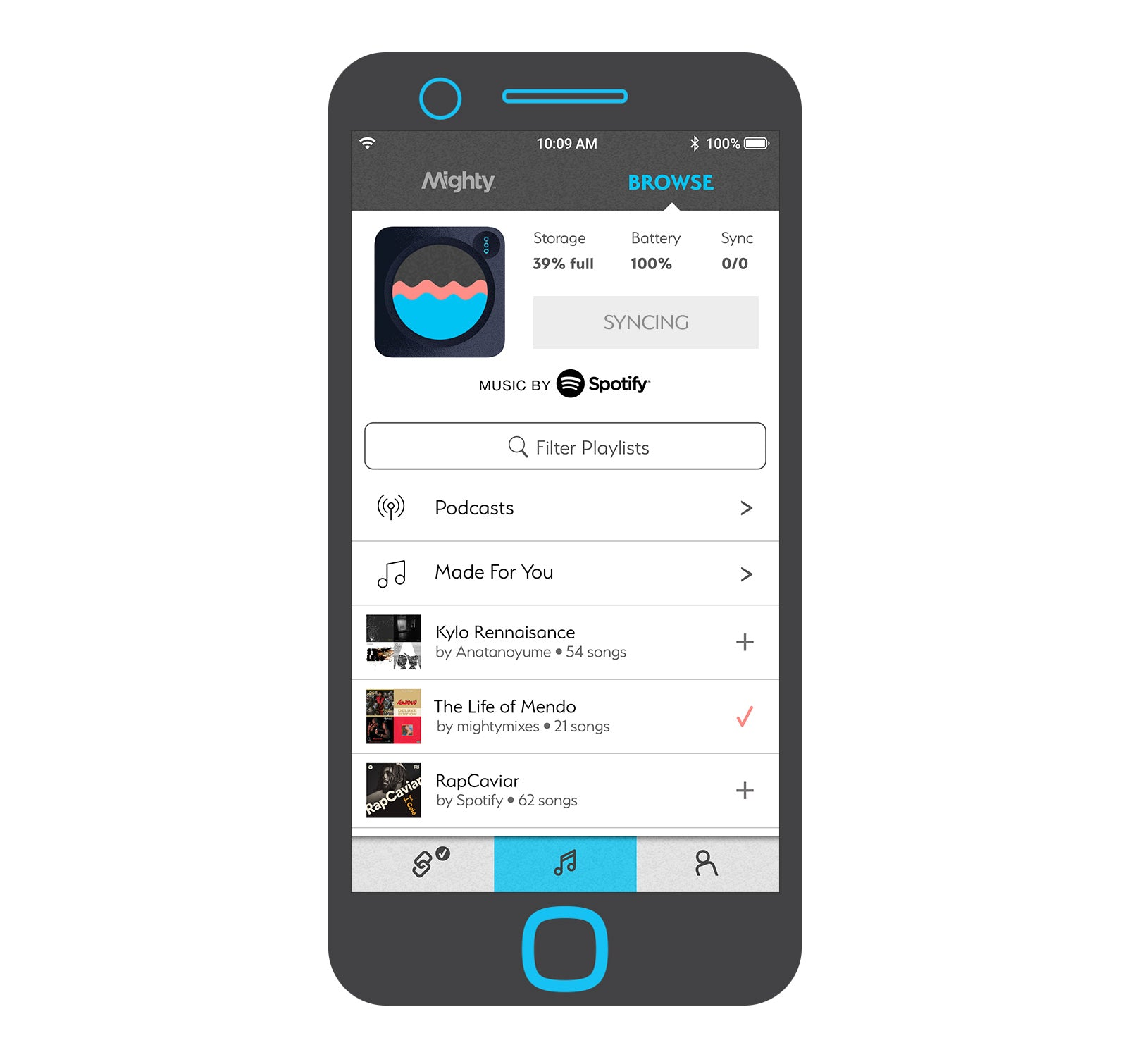 6. Hit the sync button to store your music offline on Mighty