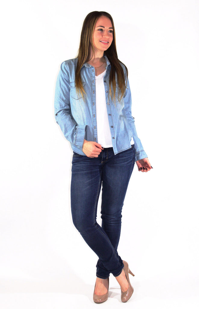 Chambray Button Up - Forever Yours Boutique