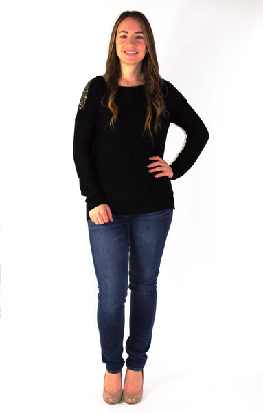 Sequin Shoulder Sweater - Forever Yours Boutique
