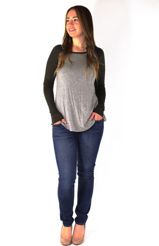 Long Sleeve Baseball Top - Forever Yours Boutique