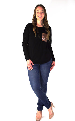 Sequined Pocket Long Sleeve - Forever Yours Boutique