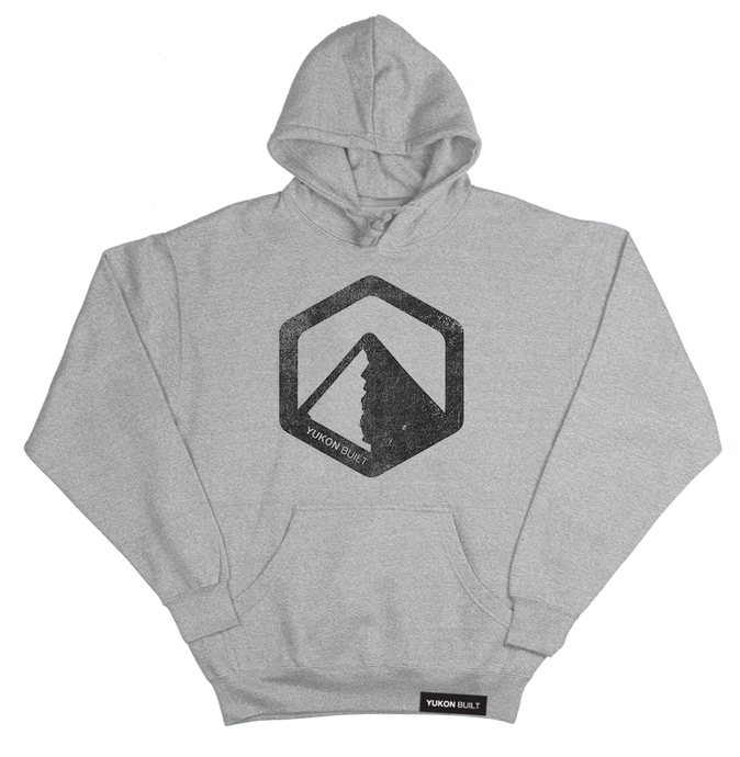 Classic Distressed Logo Hoodie - Heather Grey