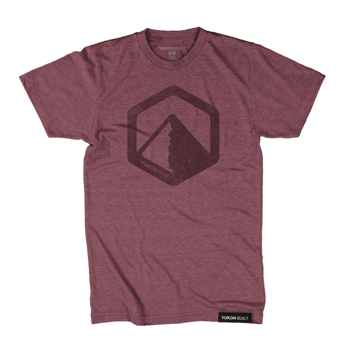 Yukon Built Logo Tee - Maroon Heather