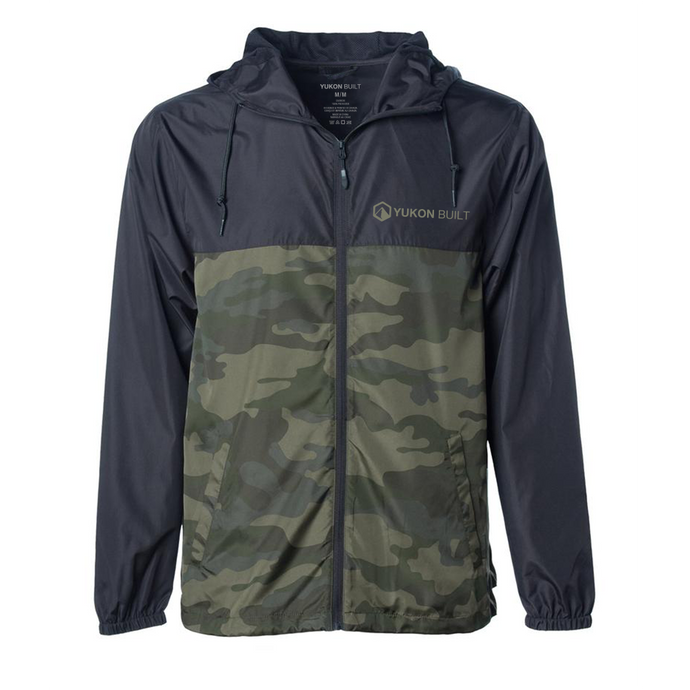 Lightweight Windbreaker - Black & Forest Camo
