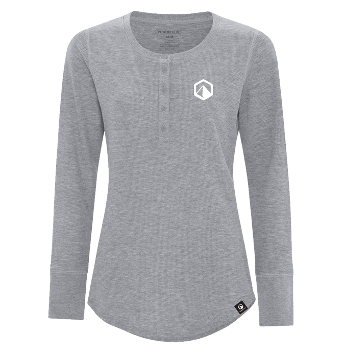 Waffle Knit Henley, Ladies Cut - Grey