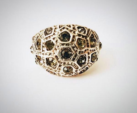 RN-689 Vintage Ring with antique swarovski crystals,perfect for the evening affair