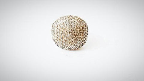 RN-693 Studded crystal ring in silver metal in a typical Edwardian style