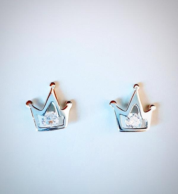 RN-825 Princess crown ear studs made in 925 sterling silver