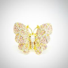 RN-899 Butterfly ring set with pink crystals makes for this bold ring! Best part is that it fits any finger