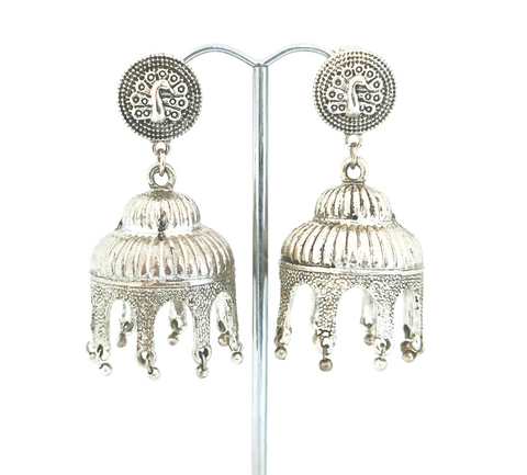 TR 58 - German Silver jhumkas made with an antique look to give the perfect classy feel