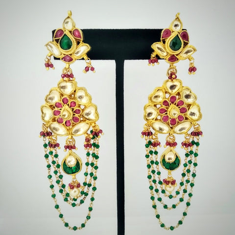 RV 420 Traditional magar kundan earrings with moss green and flamingo pink semi precious stones to enhance the beauty of the floral pair!