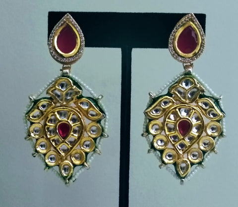 TR 2 Traditional kundan earrings with red stone