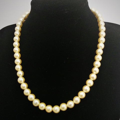 RV 459 Spotless and lustrous indeed, Natural dull gold fresh water pearls. A great gift to oneself or for that special person.....a lifelong keepsake