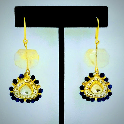 RV 479 Citrine gem with yellow antique kundan and royal blue agate beads, make this one of a kind combination earrings