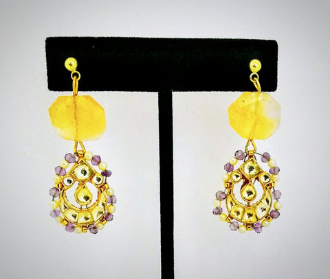 RV 484 Earrings made from citrine gem with dancing doll kundan in seed pearls and purple beads