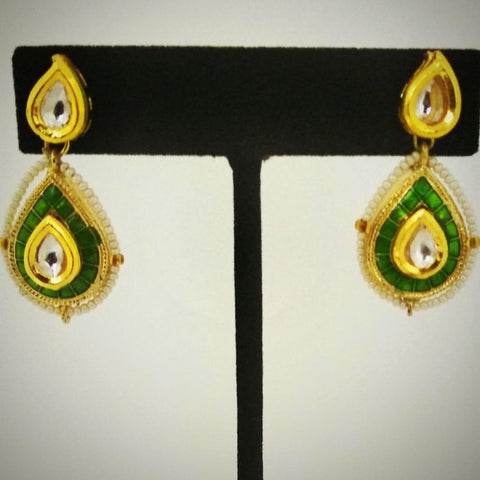 RV 493 Mint green enamel drops with kundan and pearl seeds surrounding the top, delicate and dainty pair!