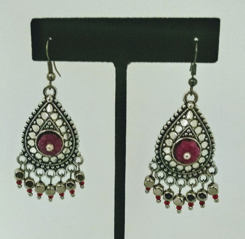 RV 372 Antique earrings with carved ruby with dangles and red czech beads