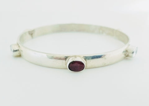 RV 500 Silver bangle with red, green and white zircons