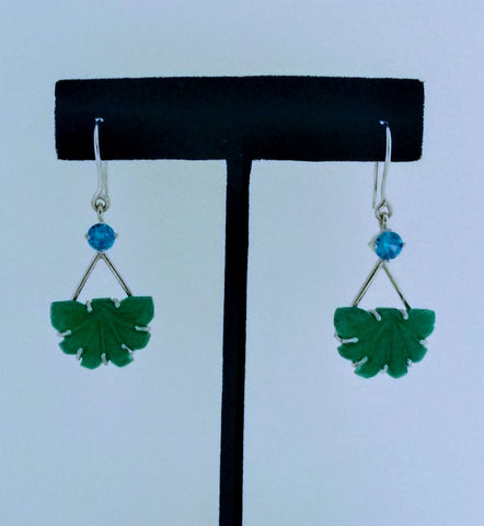 RV - 519 Carved Green onyx with aqua zircon to add an oomph to the look of these earrings