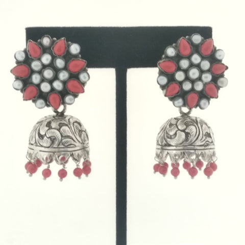 RV 541 Coral and pearl jhumkas made in pure silver