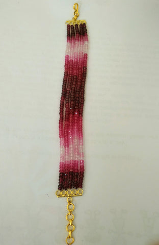 BR-11 Shaded red rubies going into white makes this mesmerising bracelet