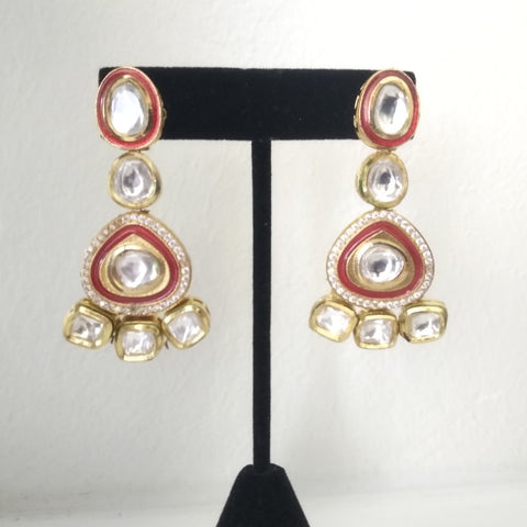 TR Traditional red enamel with Kundan earrings