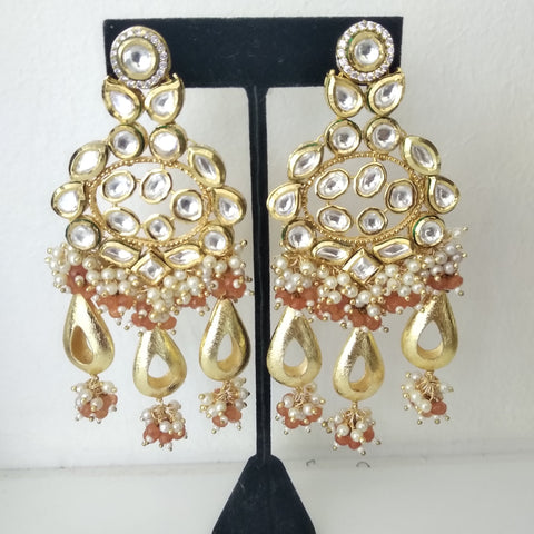 TR-10 Royal carnelian beads and seed pearls hanging as a bunch from this spectacular Kundan designer earrings, no duplication assured!! Just one piece of a kind