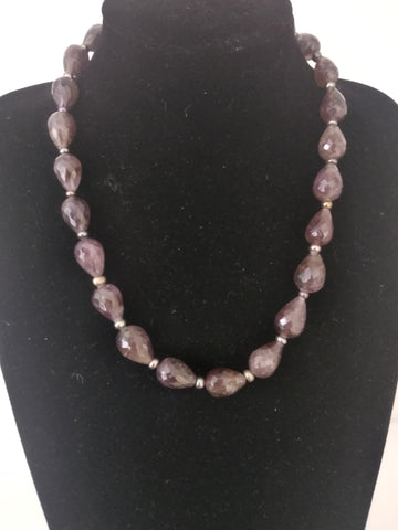 NP 43 One of a kind faceted Amethyst drops,  strung in a single line to make this gorgeous neckwear