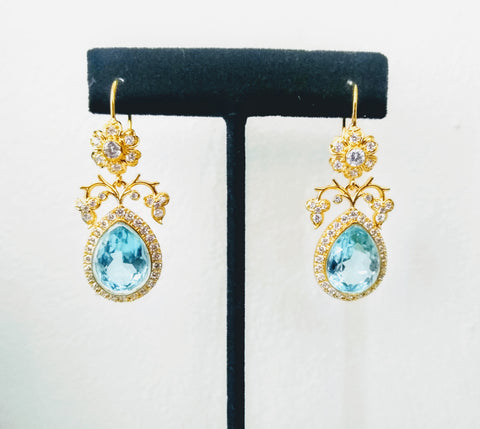 RV - 559  Sparkling zircons in a floral setting, with one of the best shades in Blue Topaz, make this adorable pair