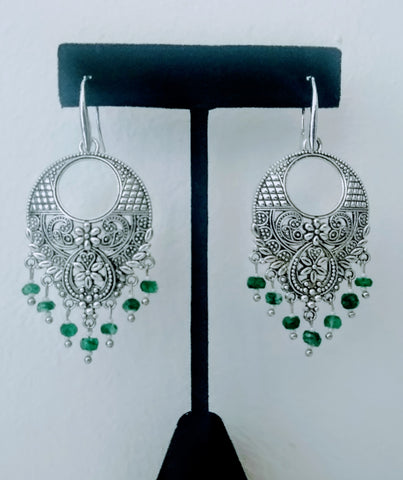 TR 26 Round emerald earrings with german silver component
