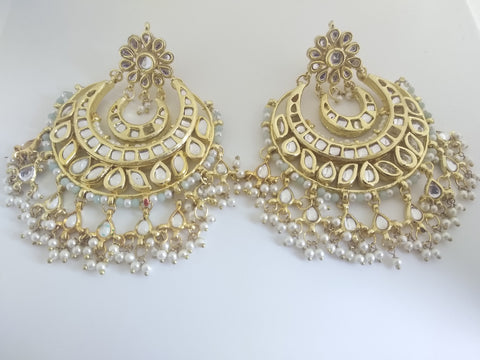 TR - 25 Traditional chand bali with pearls and mint jade