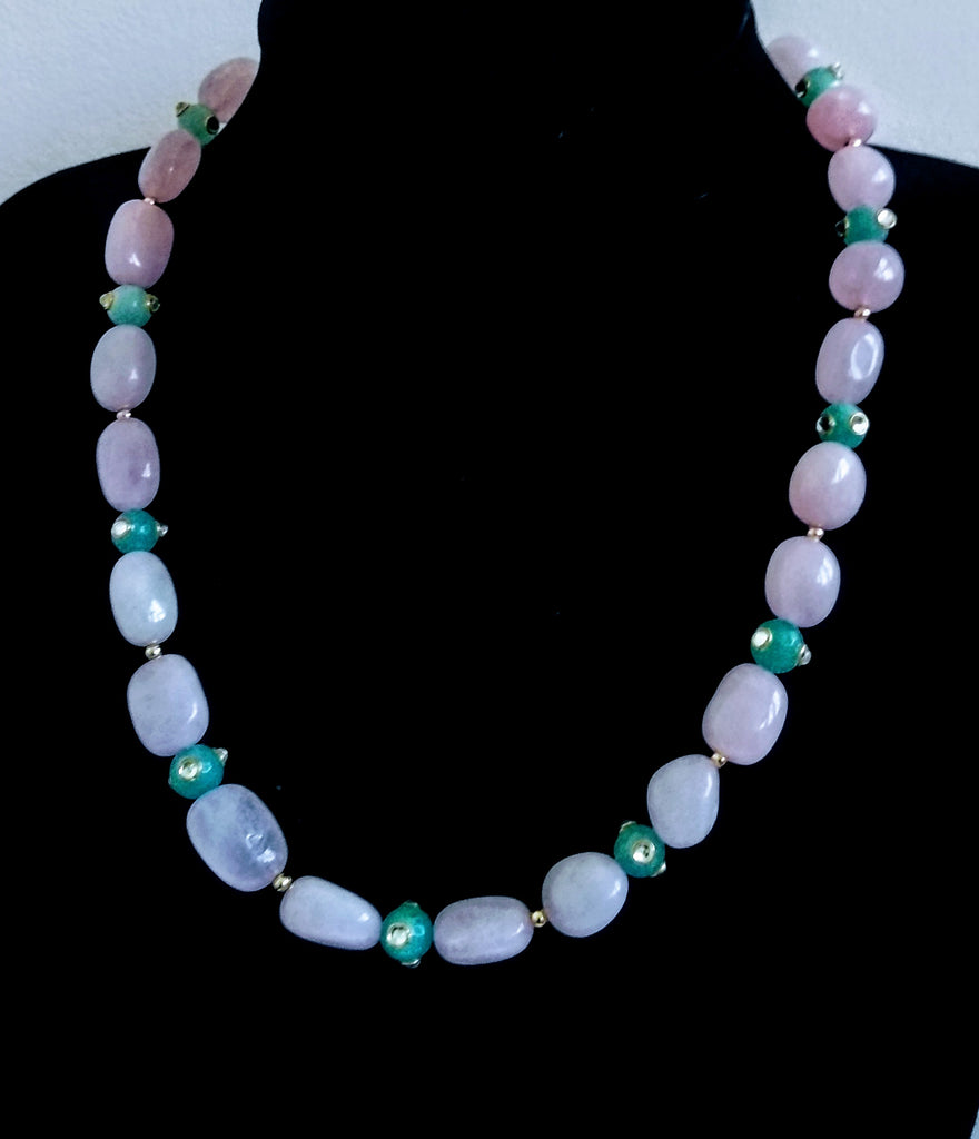 RV 320 Rose quartz paired with minty green jade to make this pastel coloured necklace
