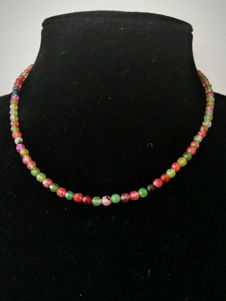 RV 329 Green, pink and red agate necklace. Perfect for anytime wear!