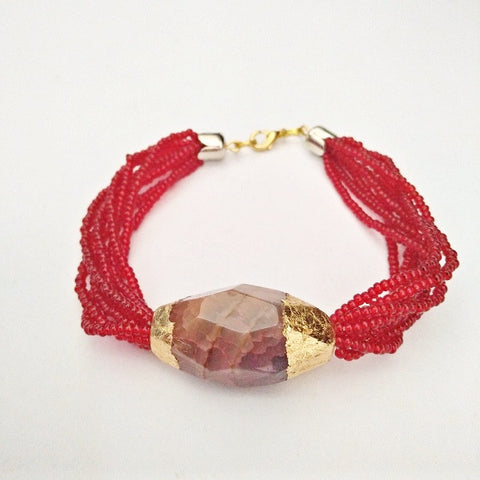 RN-148 Czech beads with 24karat gold foiled Agate - Renouveau Design Studio