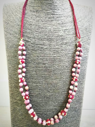 RV 323 Red jadau with small faceted sparkly garnet and rhodolite traditional necklace