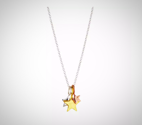RN-839 Inspired by the galaxy, made with 18 karat White, Yellow and Pink Gold, this dainty pendant comes with a stainless steel chain