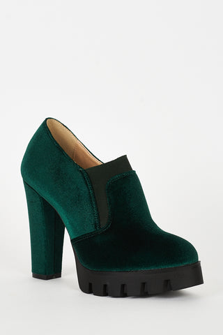 Green Velvet Block Heel Platform Shoes - First Impression UK