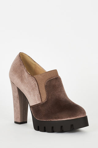 Mocha Velvet Block Heel Platform Shoes