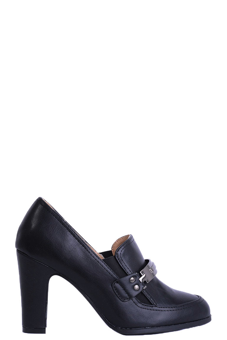 Black Block Heeled Shoe, High Heels - First Impression UK