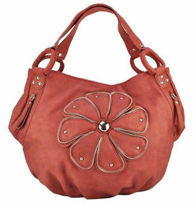 Plicated Slouch Bag of Stud & Zip Flower