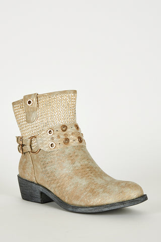 Frosted Brown Textured Silver Detail Western Style Boots - First Impression UK