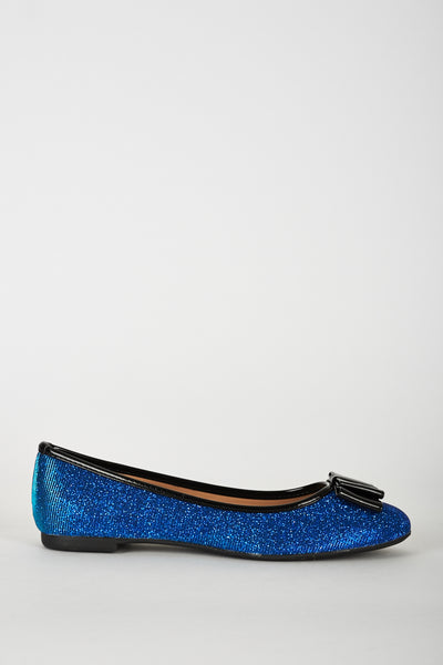 Blue Sparkle Pumps with Bow Detail, Flats - First Impression UK