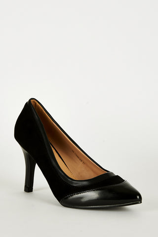 Black Panel Pointed Court Shoes - First Impression UK