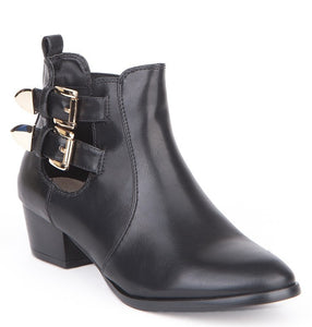 Black Buckle Detail Chelsea Boots, Boots - First Impression UK