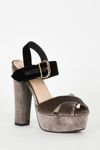 Mocha And Black Velvet Block Heel Platform Sandals