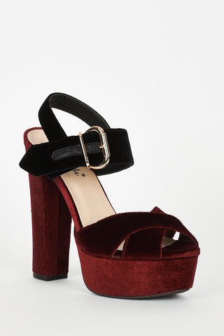 Burgundy And Black Velvet Block Heel Platform Sandals - First Impression UK