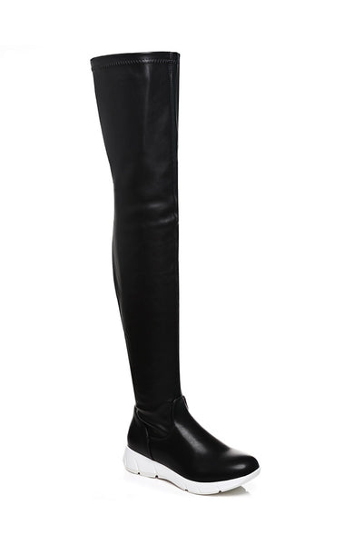 Black Faux Leather Over The Knee Boots - First Impression UK