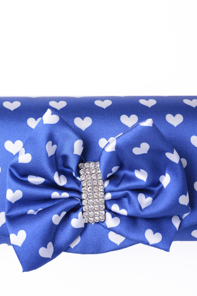 Clutch Bag With Ribbon In Dark Blue