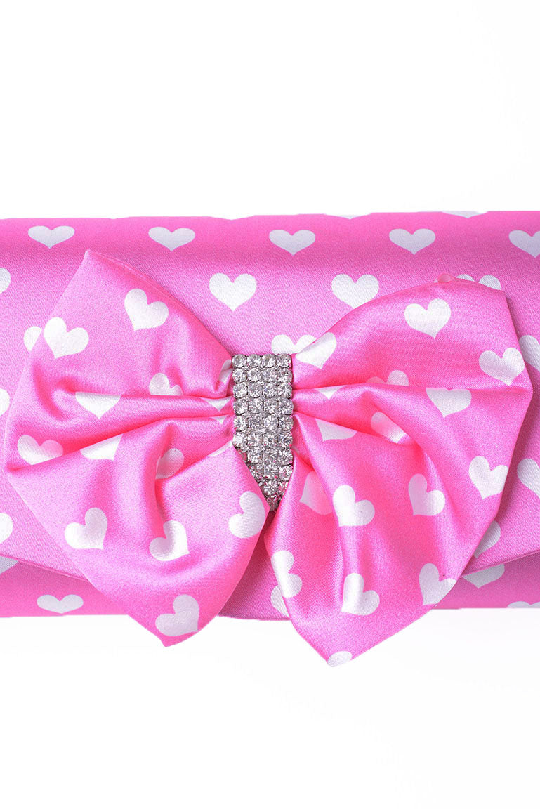 Ladies Clutch Bag With Ribbon In Pink