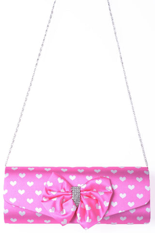 Clutch Bag With Ribbon In Pink